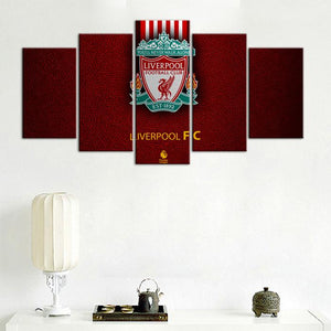 Liverpool F.C. Leather Look 5 Pieces Wall Painting Canvas