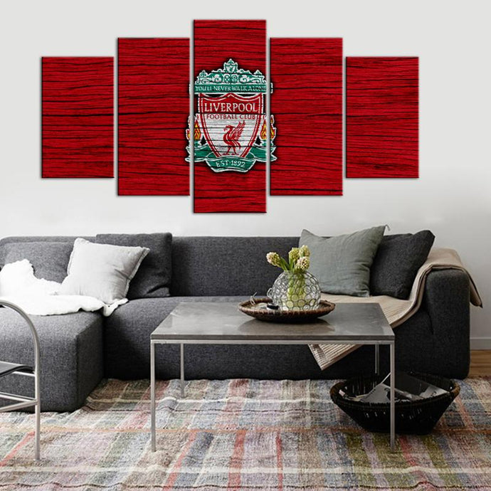 Liverpool F.C. Wooden Look 5 Pieces Wall Painting Canvas