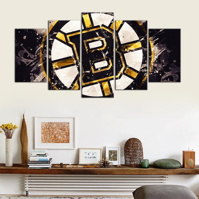Boston Bruins Paint Splash 5 Pieces Wall Painting Canvas