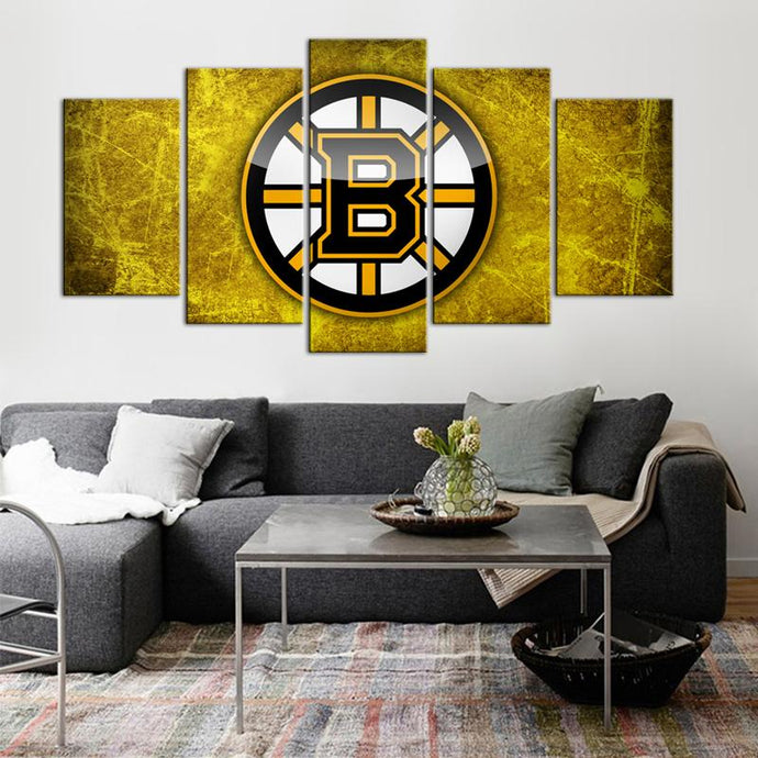 Boston Bruins Logo 5 Pieces Wall Painting Canvas