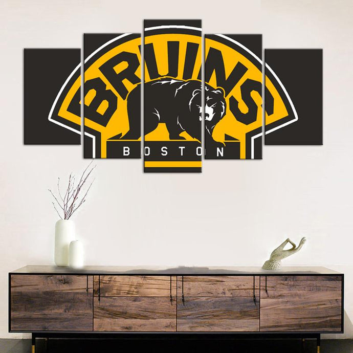 Boston Bruins Brown 5 Pieces Wall Painting Canvas