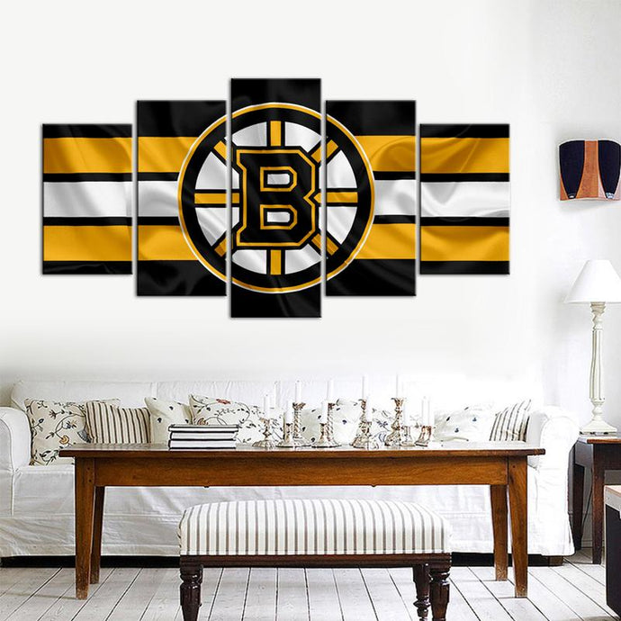 Boston Bruins Fabric Flag Cheering 5 Pieces Wall Painting Canvas