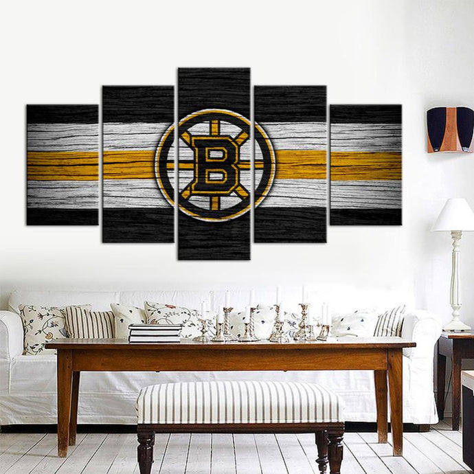 Boston Bruins Wooden Style 5 Pieces Wall Painting Canvas