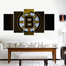 Load image into Gallery viewer, Boston Bruins Metal Look 5 Pieces Wall Painting Canvas