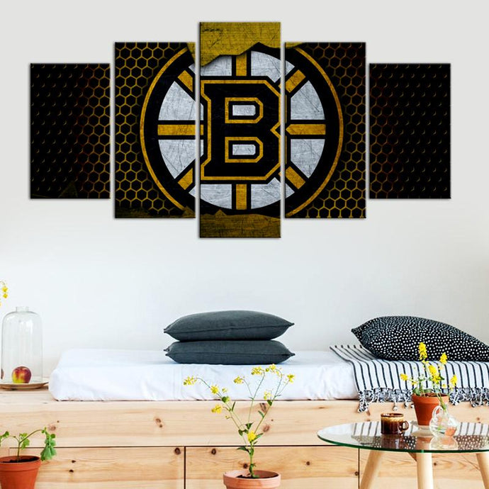 Boston Bruins Metal Look 5 Pieces Wall Painting Canvas