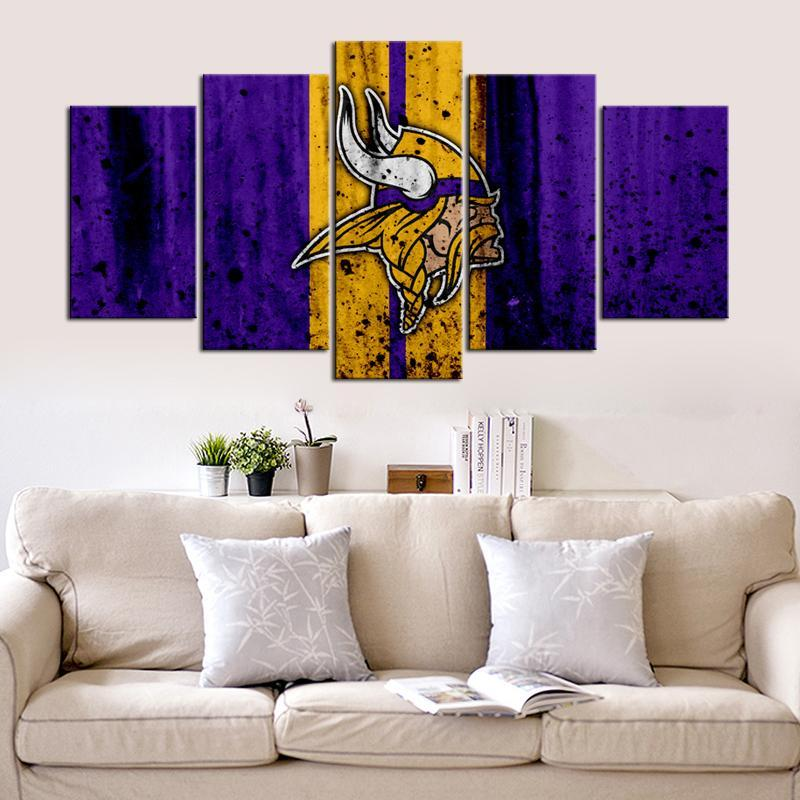 Minnesota Vikings Rough Look 5 Pieces Wall Painting Canvas