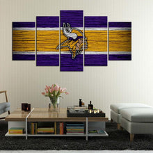 Load image into Gallery viewer, Minnesota Vikings Wooden Look 5 Pieces Wall Painting Canvas