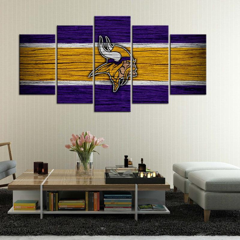 Minnesota Vikings Wooden Look 5 Pieces Wall Painting Canvas