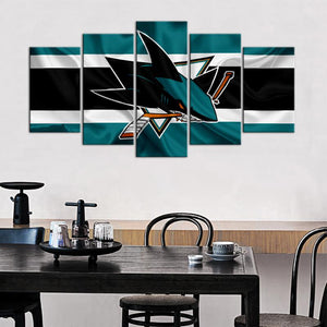 San Jose Sharks Fabric Flag 5 Pieces Wall Painting Canvas