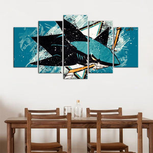 San Jose Sharks Paint Splash 5 Pieces Wall Painting Canvas
