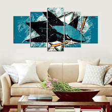 Load image into Gallery viewer, San Jose Sharks Paint Splash 5 Pieces Wall Painting Canvas
