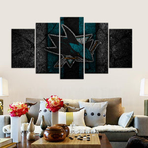 San Jose Sharks Rock Style 5 Pieces Wall Painting Canvas