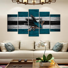 Load image into Gallery viewer, San Jose Sharks Wooden Look 5 Pieces Wall Painting Canvas