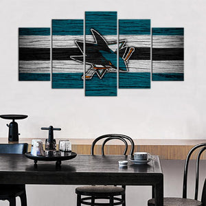 San Jose Sharks Wooden Look 5 Pieces Wall Painting Canvas