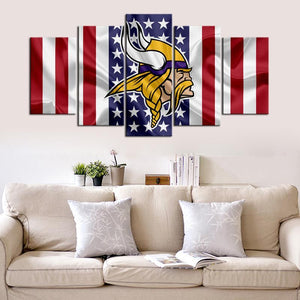 Minnesota Vikings American Flag 5 Pieces Wall Painting Canvas