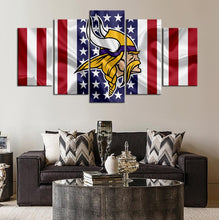 Load image into Gallery viewer, Minnesota Vikings American Flag Canvas