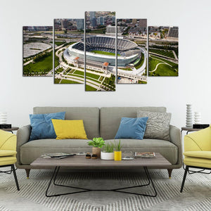 Chicago Bears Stadium From Sky 5 Pieces Wall Painting Canvas