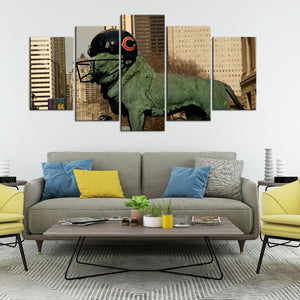 Chicago Bears Statue 5 Pieces Wall Painting Canvas