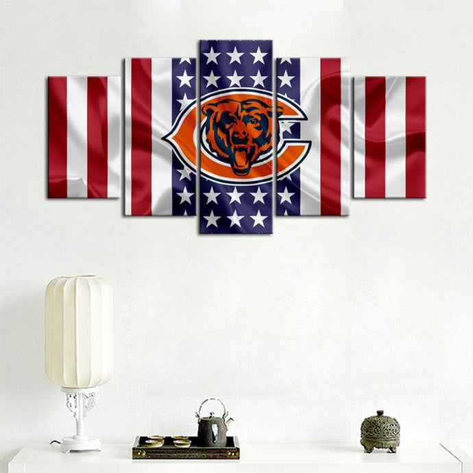 Chicago Bears American Flag Canvas