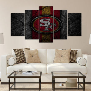 San Francisco 49ers Rock Style 5 Pieces Wall Painting Canvas