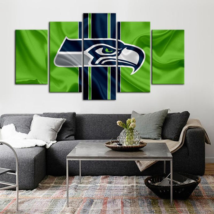 Seattle Sea Hawks Flag Look 5 Pieces Wall Painting Canvas