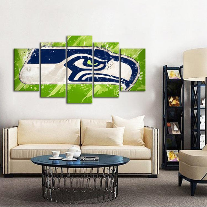 Seattle Sea Hawks Paint Splash 5 Pieces Wall Painting Canvas
