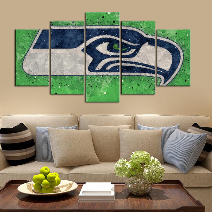 Seattle Sea Hawks Techy Style 5 Pieces Wall Painting Canvas