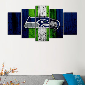 Seattle Sea Hawks Rough Look 5 Pieces Wall Painting Canvas