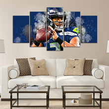 Load image into Gallery viewer, Russell Wilson Seattle Sea Hawks 5 Pieces Wall Painting Canvas
