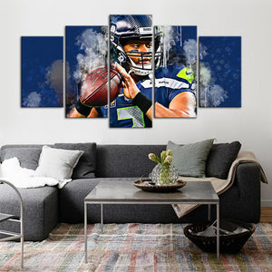 Russell Wilson Seattle Sea Hawks 5 Pieces Wall Painting Canvas