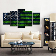 Load image into Gallery viewer, Seattle Sea Hawks Texture Wood 5 Pieces Wall Painting Canvas