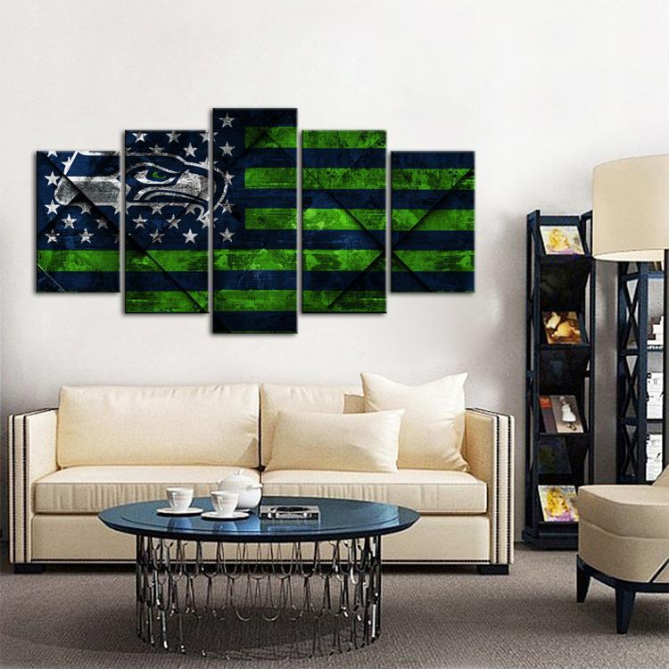 Seattle Sea Hawks Texture Wood 5 Pieces Wall Painting Canvas