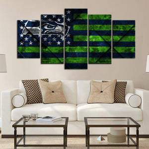 Seattle Seahawks Texture Wood Wall Canvas