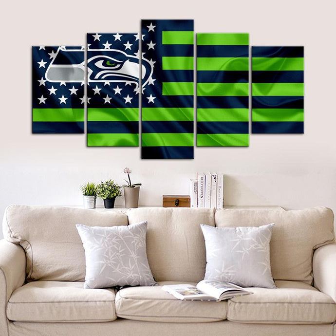 Seattle Sea Hawks American Flag Canvas