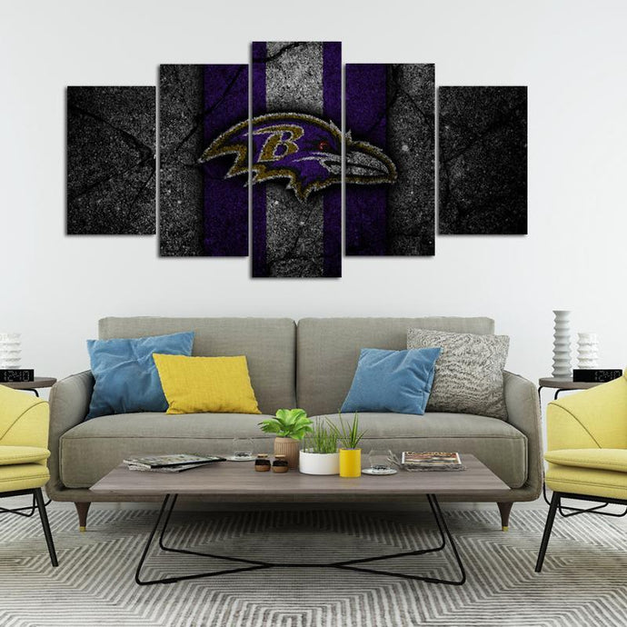 Baltimore Ravens Rock Style 5 Pieces Wall Painting Canvas