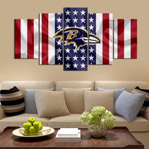 Baltimore Ravens American Flag 5 Pieces Wall Painting Canvas