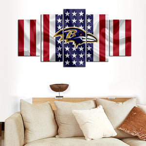 Baltimore Ravens American Flag Canvas