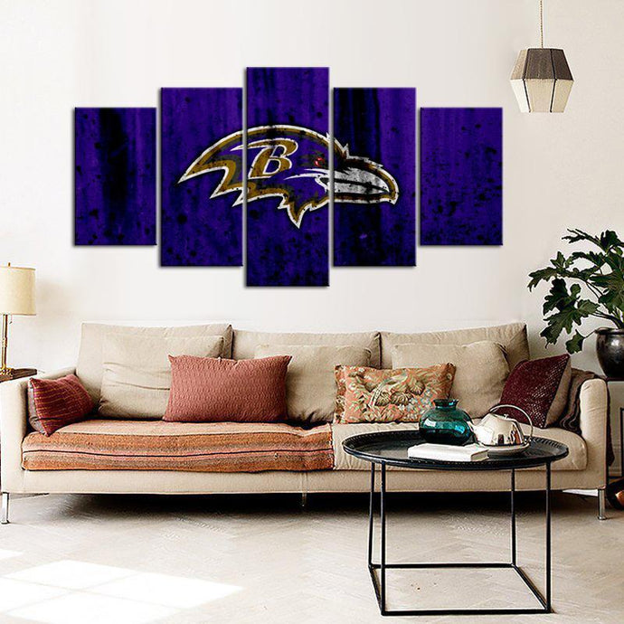 Baltimore Ravens Rough Look 5 Pieces Wall Painting Canvas
