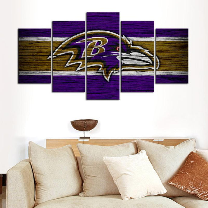 Baltimore Ravens Wooden Look 5 Pieces Wall Painting Canvas