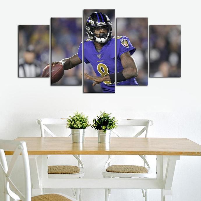 Lamar Jackson Baltimore Ravens 5 Pieces Wall Painting Canvas