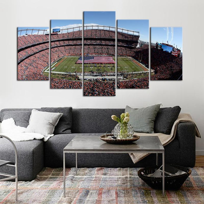 Denver Broncos Stadium 5 Pieces Wall Painting Canvas