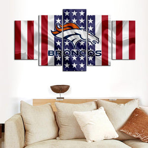 Denver Broncos American Flag Canvas