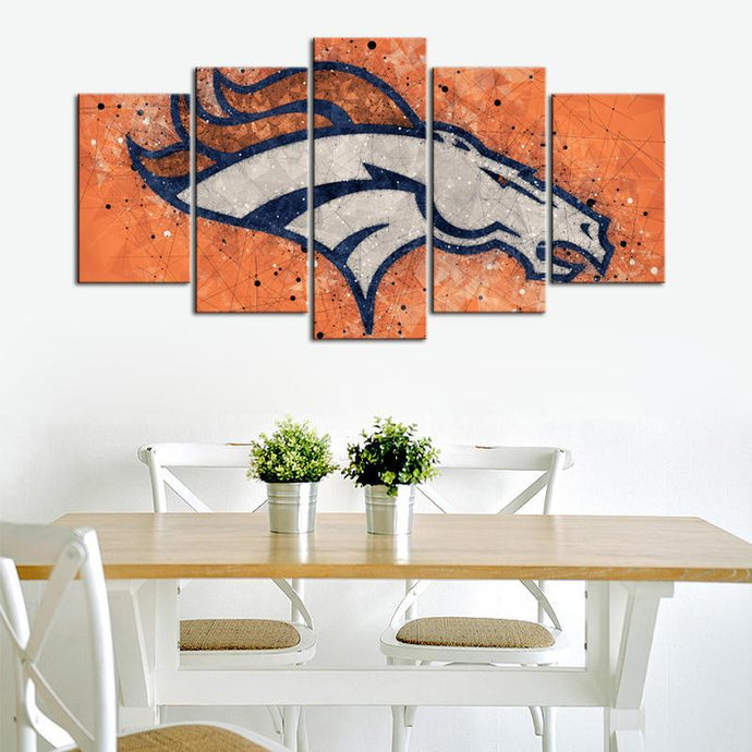 Denver Broncos Techy Style 5 Pieces Wall Painting Canvas