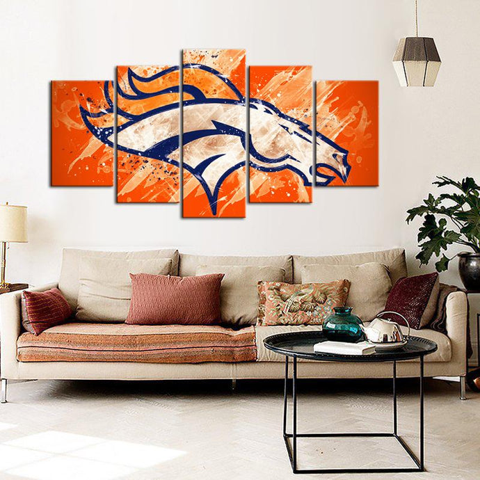 Denver Broncos Paint Splash Canvas