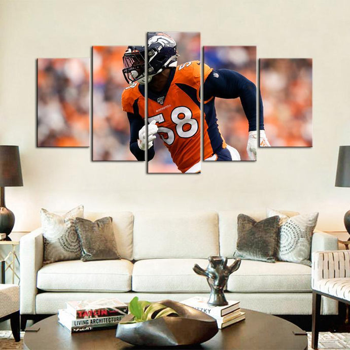 Von Miller Denver Broncos 5 Pieces Wall Painting Canvas