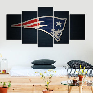 New England Patriots Paint Stroke 5 Pieces Wall Painting Canvas