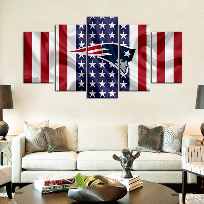 New England Patriots American Flag Canvas