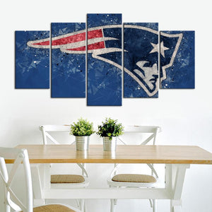 New England Patriots Techy Look 5 Pieces Wall Painting Canvas