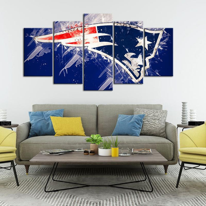 New England Patriots Paint Splash5 Pieces Wall Painting Canvas