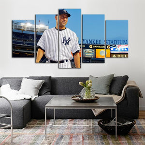 Derek Jeter New York Yankees Canvas 5 Pieces Wall Painting Canvas